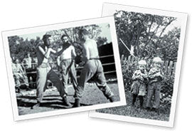 Two vintage photographs: men boxing, and 2 small children in a yard.