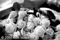 Black and white photo of rose bouquet