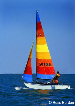 Colorful sailboat on the water