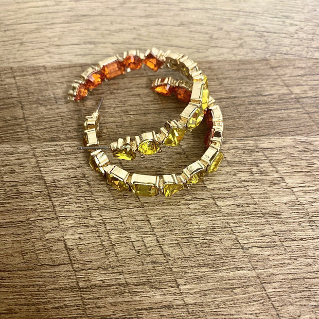 Adina Multi-Colored Stone Hoop Earrings - Goddess House of Glam Boutique