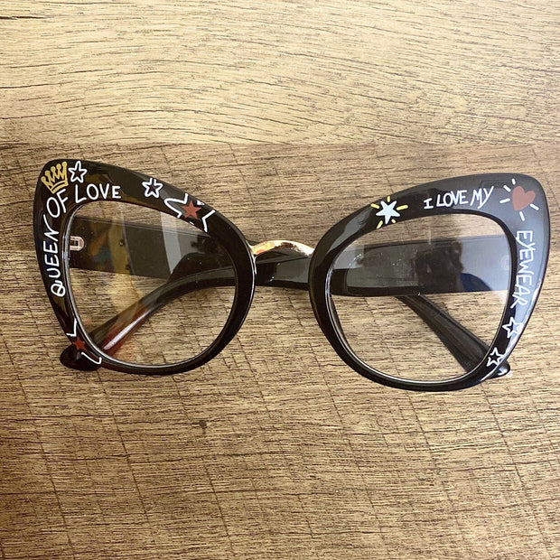 Queen of Love Graffiti Glasses - Goddess House of Glam Boutique