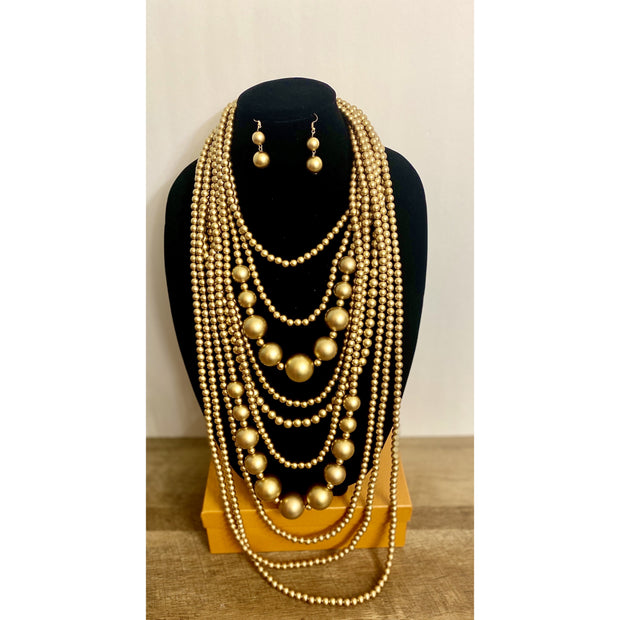 Kaarina Gold Beaded Necklace Set - Goddess House of Glam Boutique