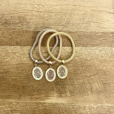 Oval Rose Pendant 3pc Set Bracelets