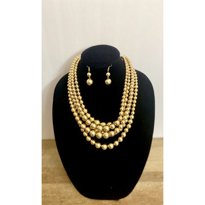 Zuri Rose Gold 5 Tiered Beaded Necklace Set - Goddess House of Glam Boutique