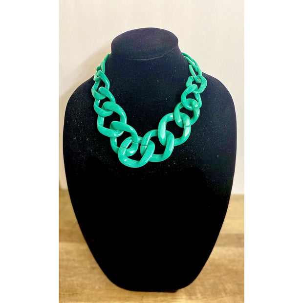 Imani Green Link Necklace Set