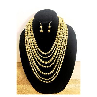 Amina Gold Beaded Necklace Set- Goddess House of Glam Boutique