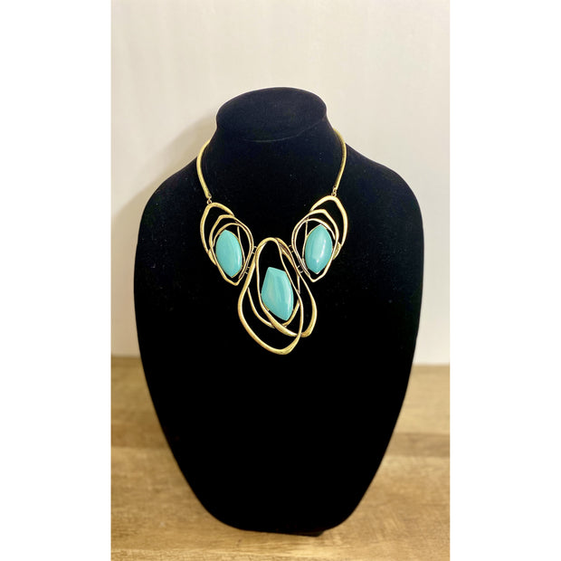 Neko Turquoise Abstract Collar Necklace Set