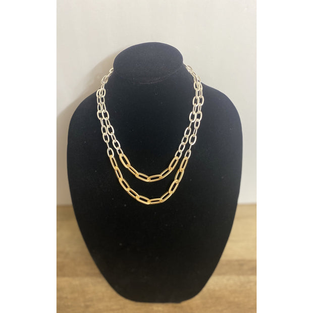 Jina Two Tone Double Link Necklace - Goddess House of Glam Boutique