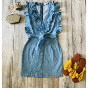 Jayde Ruffle Denim Dress - Goddess House of Glam Boutique