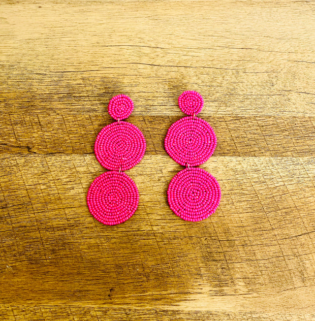 Zanna Hot Pink and Yellow Tiered Beaded Earrings