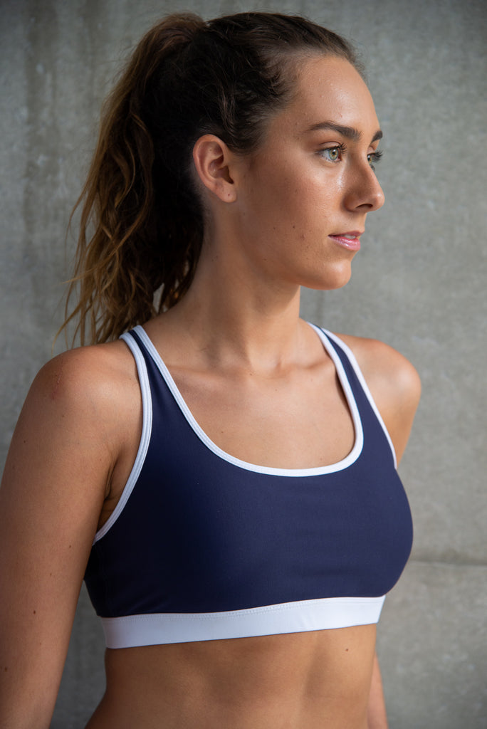Racer Back Crop Navy with White Trim.
