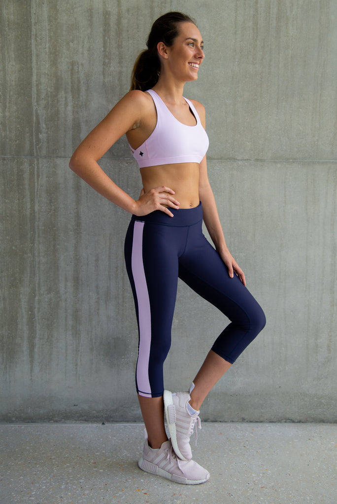 Capri Legging Navy with Pink Stripe