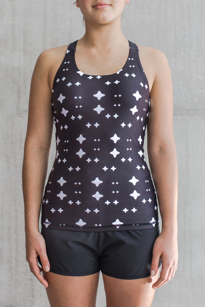 Fitted Tank Black Signature Print