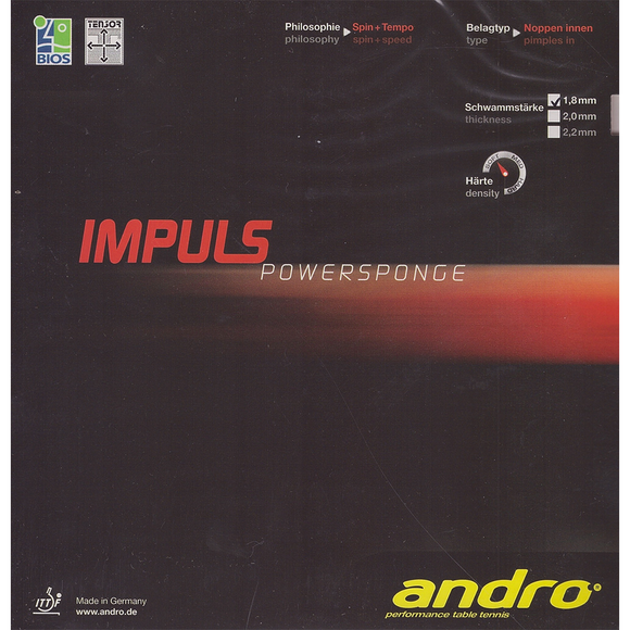 Andro Impuls Powersponge Table Tennis & Ping Pong Rubber, Pick Color & Thickness