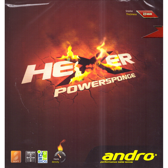 Andro Hexer Powersponge Table Tennis & Ping Pong Rubber, Choose Color & Thickness