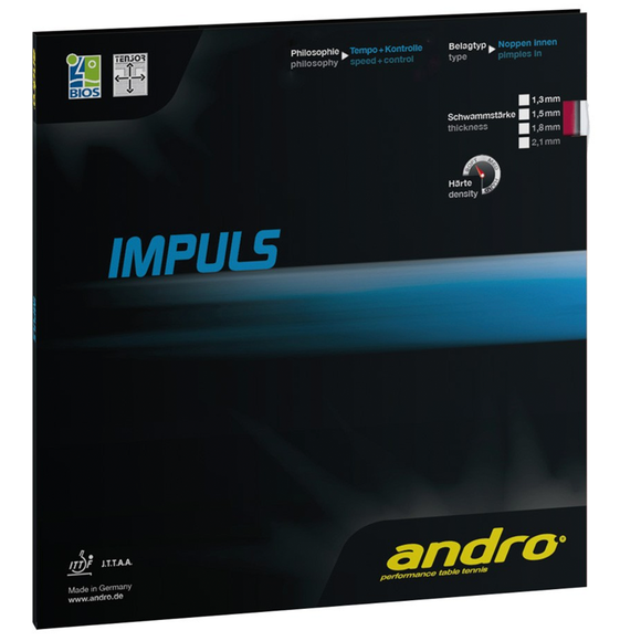 Andro Impuls Table Tennis and Ping Pong Rubber, Choose Your Color and Thickness