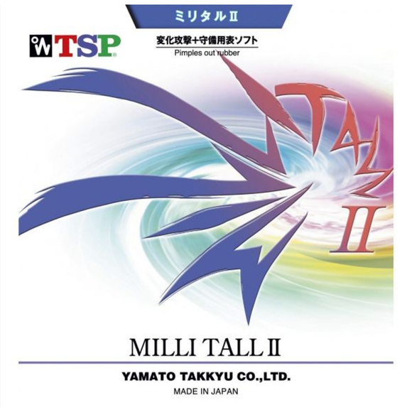 TSP Milli Tall II Table Tennis & Ping Pong Rubber, Choose Your Color & Thickness
