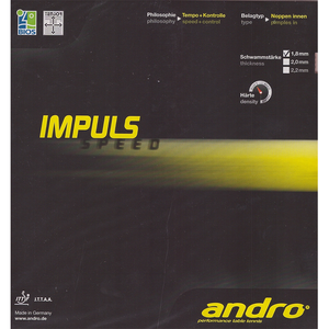 Andro Impuls Speed Table Tennis and Ping Pong Rubber, Choose Color and Thickness