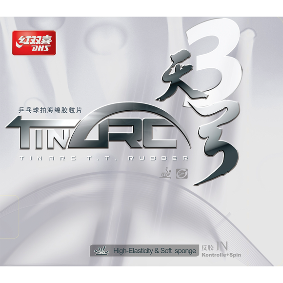 DHS Tinarc 3 Soft Table Tennis and Ping Pong Rubber, Choose Color and Thickness