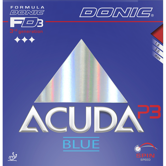 Donic Acuda Blue P3 Table Tennis & Ping Pong Rubber, Choose Color and Thickness