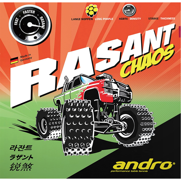 Andro Rasant Chaos Table Tennis and Ping Pong Rubber, Choose Color and Thickness