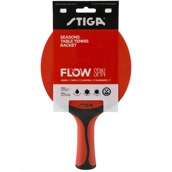Stiga Bat Outdoor Flow Spin Red/Black Table Tennis & Ping Pong Racket, Authentic
