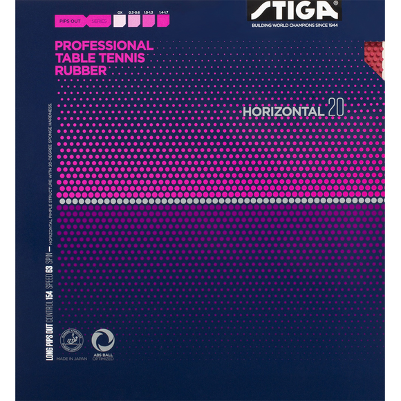 Stiga Horizontal 20 Table Tennis & Ping Pong Rubber, Choose Color and Thickness