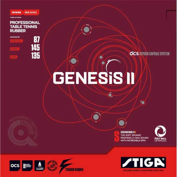 Stiga Genesis II S Table Tennis & Ping Pong Rubber, Choose Your Color & Thickness