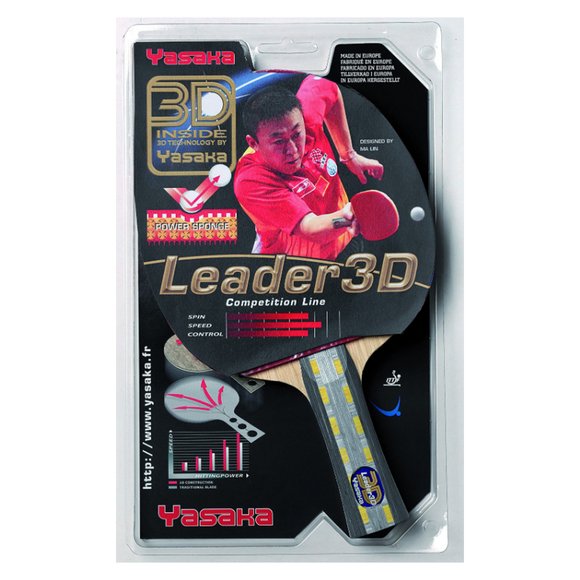 Yasaka Racket Leader 3D Table Tennis and Ping Pong Racket, 100% Authentic