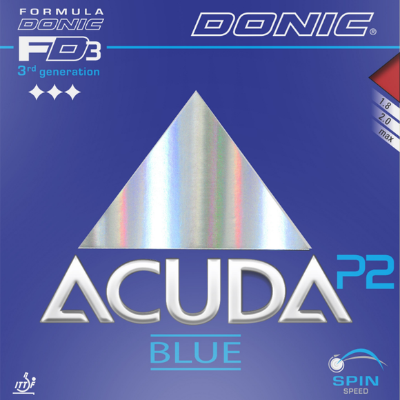 Donic Acuda Blue P2 Table Tennis and Ping Pong Rubber, Pick Thickness and Color