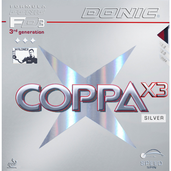 Donic Coppa X3 Silver Table Tennis & Ping Pong Rubber, Choose Color & Thickness