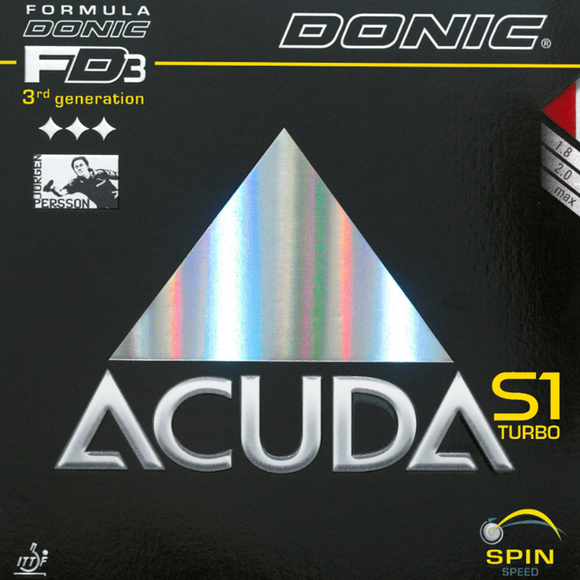Donic Acuda S1 Turbo Table Tennis & Ping Pong Rubber, Choose Color and Thickness