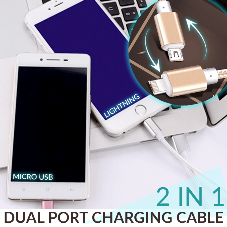 2 In 1 Dual Port Charging Cable