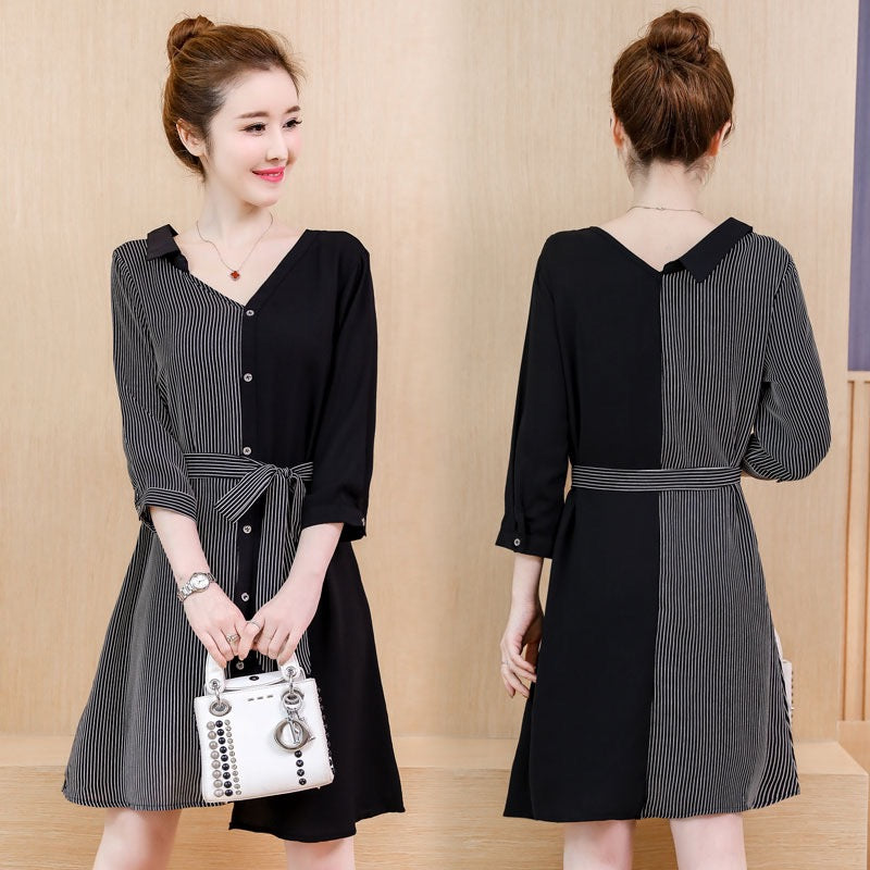 DRESS BLACK GREY