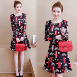 DRESS RED COMBY BLACK