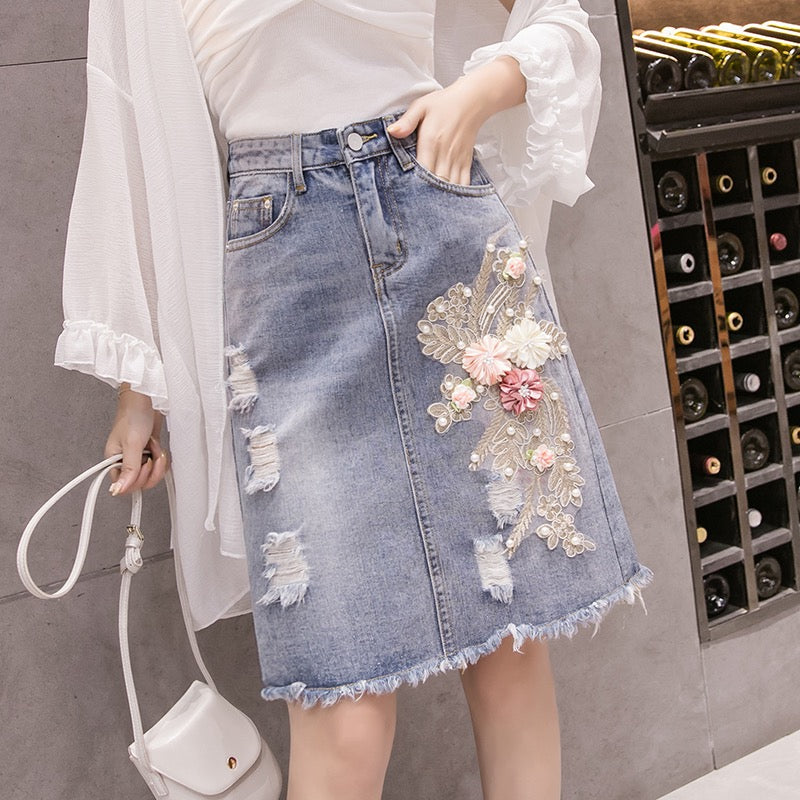 SKIRT DENIM FLOWER