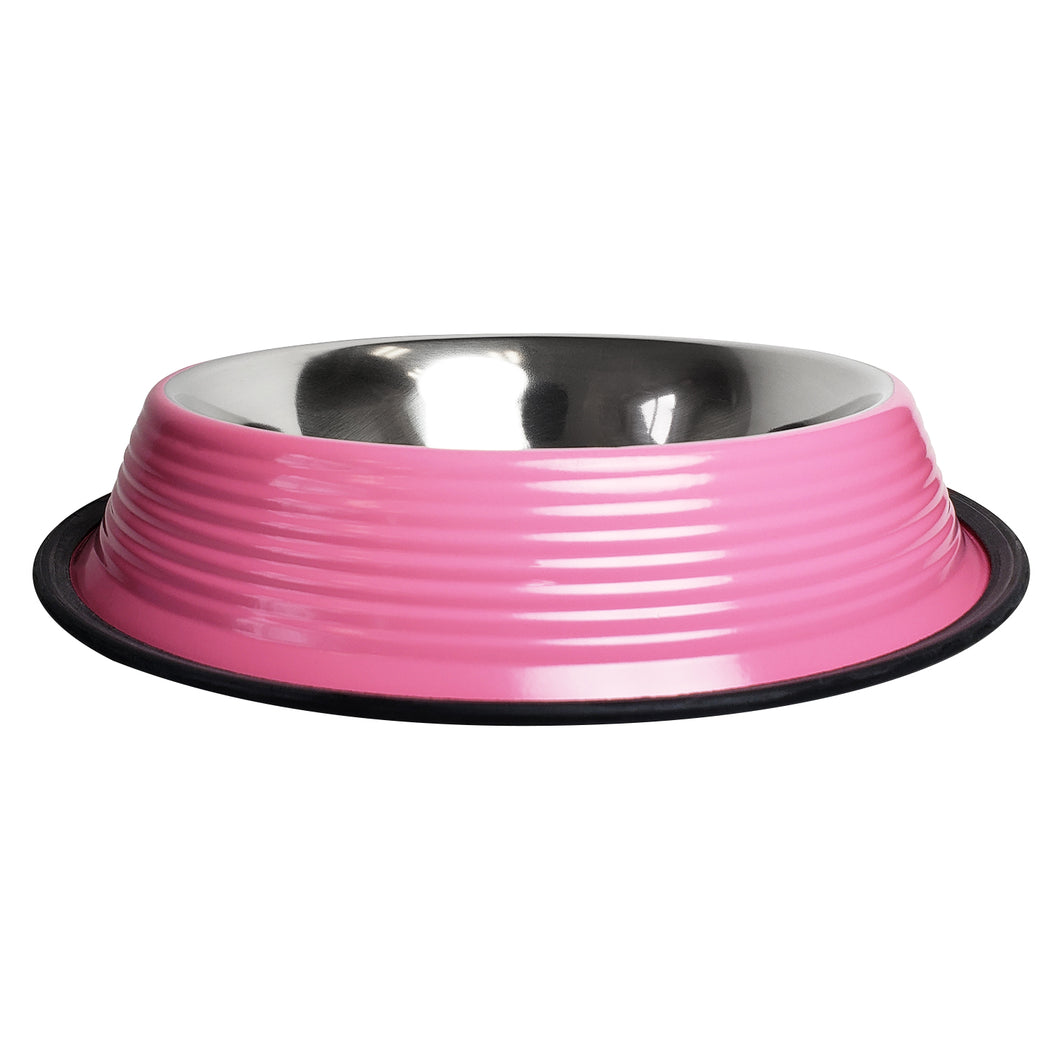 No tip Non Skid Colored Stainless Steel Bowls in Pink