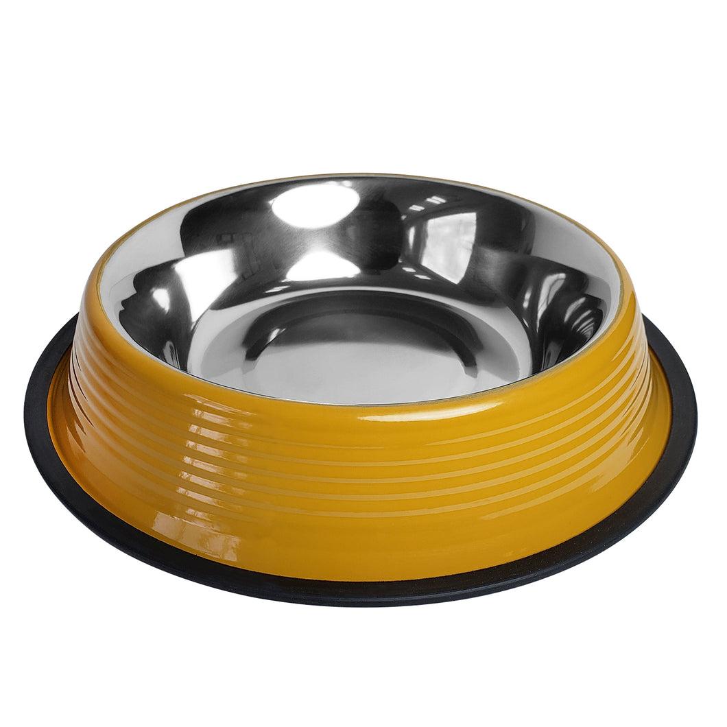 No tip Non Skid Colored Stainless Steel Bowls in Dark Yellow