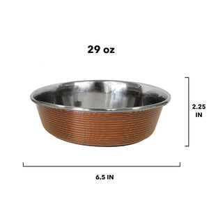 Stainless Steel Colored Striped Dog Bowls in Brown, 29 oz