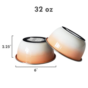 Deep Bowl Rubber Bottom Stainless Steel Set in Peach