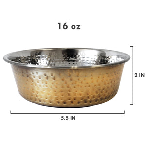 Designer Hammered Stainless Steel Dog Bowl in Gold