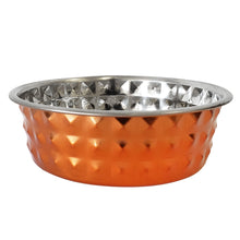 Load image into Gallery viewer, Designer Hammered Stainless Steel Dog Bowl in Bronze, 32 oz