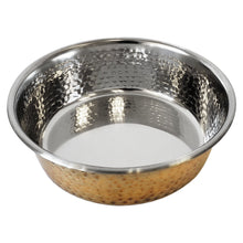 Load image into Gallery viewer, Designer Hammered Stainless Steel Dog Bowl in Gold