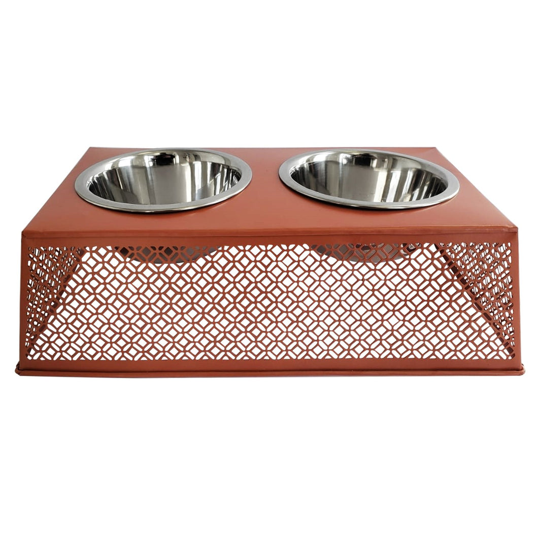Southern Style Punch Metal Elevated Pet Feeder
