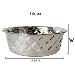 Designer Hammered Stainless Steel Dog Bowl in Silver
