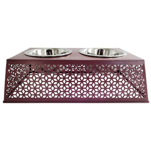 Southern Style Punch Metal Elevated Pet Feeder, Purple
