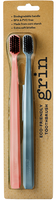 Grin Biodegradable Toothbrush Pink & Navy Twin Pack (Medium bristle)
