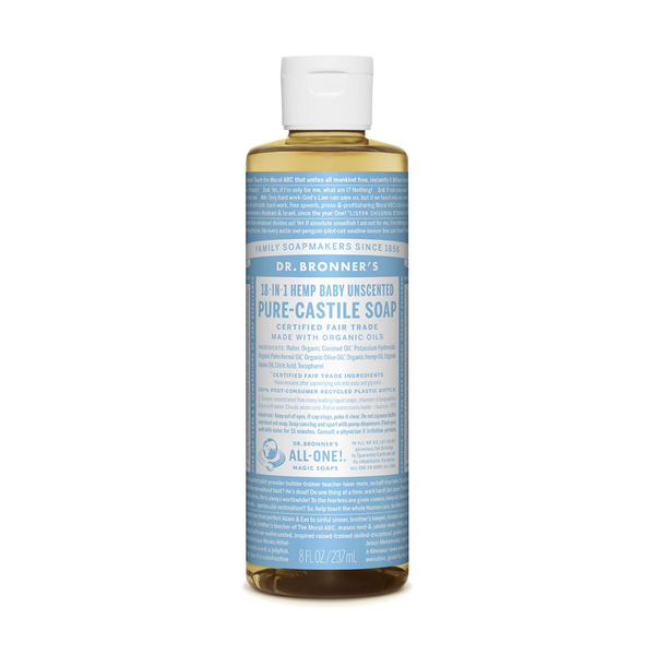 Dr Bronners Pure Castile Soap Liquid Baby Unscented 237ml