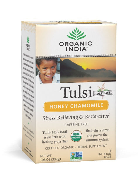 Organic India - Tea Bags 18 - Honey Camomile Tulsi Tea