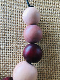 Janzbeadz- cherry highlight wooden bead necklace